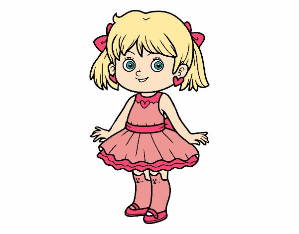 Dibujo Niña con vestido moderno pintado por AgusNet