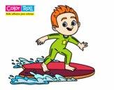 Dibujo Niño surfista Color Roll pintado por AgusNet