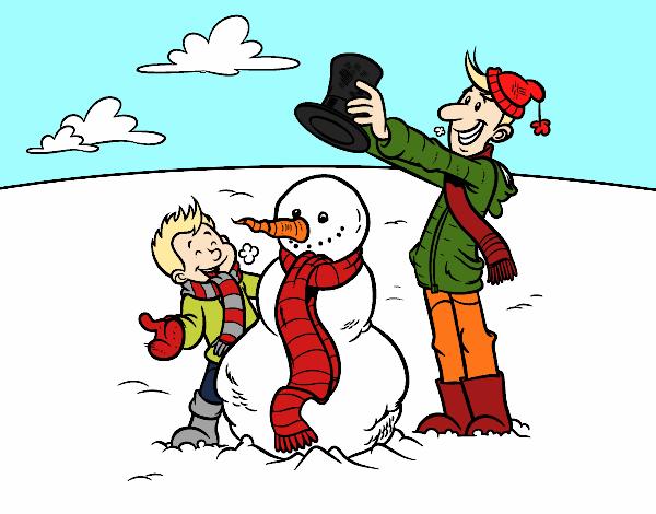 Dibujo Padre e hijo en la nieve pintado por AgusNet