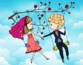 Dibujo Recién casados en un columpio pintado por AgusNet