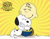 Snoopy y Carlitos abrazados