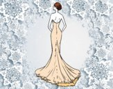 Vestido de boda con cola