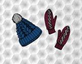 Dibujo Conjunto de guantes y gorro pintado por selene01