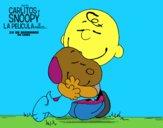 Dibujo Snoopy y Carlitos abrazados pintado por Francesita