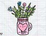 Dibujo Bote con flores silvestres y un corazón pintado por minie03