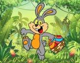 Dibujo Conejo buscando huevos de Pascua pintado por Francesita