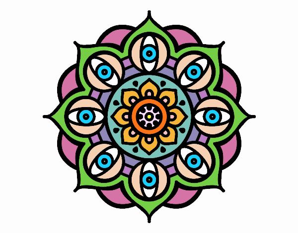 Dibujo Mandala ojos abiertos pintado por PudinGirl