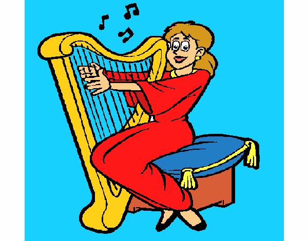Mujer tocando la arpa