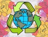 Dibujo Mundo Reciclaje pintado por mandalis
