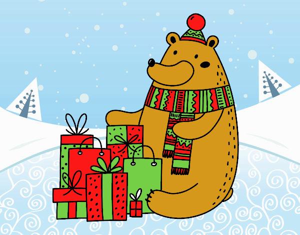 Dibujo Oso con regalos de Navidad pintado por adrinette1