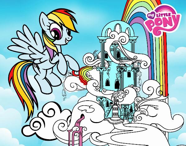 Dibujo Rainbow Dash en su palacio pintado por PudinGirl