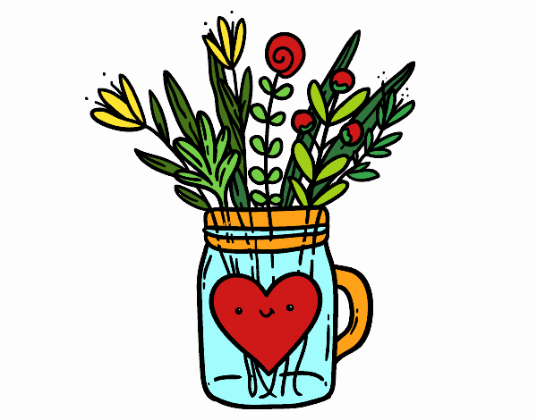Bote con flores silvestres y un corazón