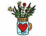 Dibujo Bote con flores silvestres y un corazón pintado por Juice
