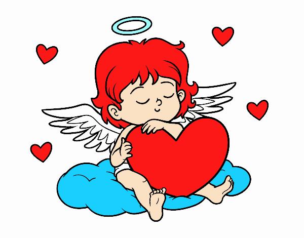 Dibujo Cupido con corazón pintado por Francesita