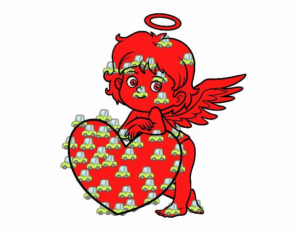 Dibujo Cupido y un corazón pintado por Francesita