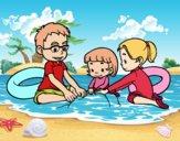 Dibujo Familia en la playa pintado por AgusNet