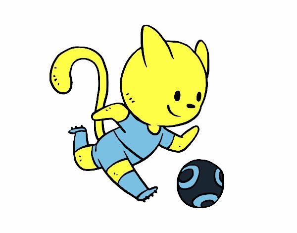 Dibujo Gato jugando a fútbol pintado por giancaros