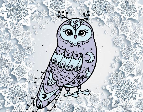Dibujo Lechuza de invierno pintado por lucia23432