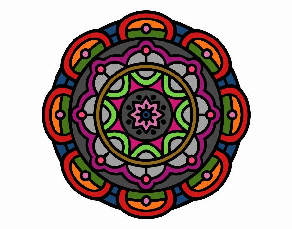 Dibujo Mandala para la relajación mental pintado por Francesita