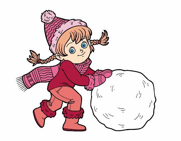 Dibujo Niña con gran bola de nieve pintado por AgusNet