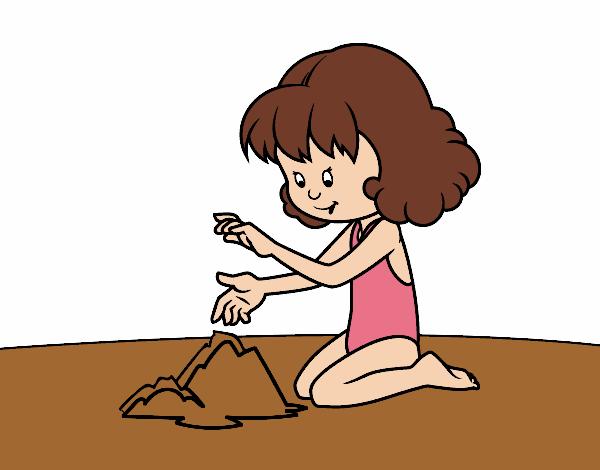 Dibujo Niña haciendo un castillo de arena pintado por AgusNet