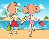 Dibujo Niña y niño en la playa pintado por AgusNet