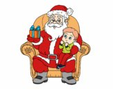Dibujo Papá Noel y niño en Navidad pintado por AgusNet