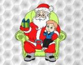 Dibujo Papá Noel y niño en Navidad pintado por Xxkenny3xx