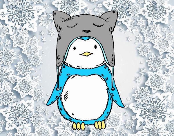 Pingüino con gorrito divertido