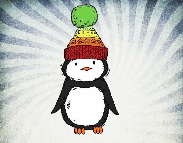 Dibujo Pingüino con gorro de invierno pintado por AgusNet