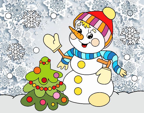 Postal de Navidad muñeco de nieve