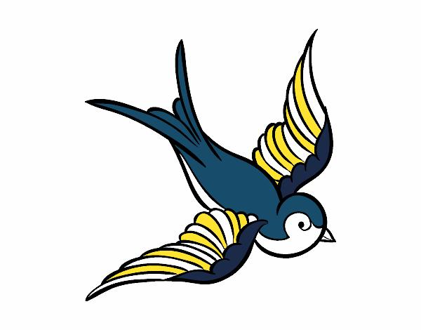 Dibujo Tatuaje de pájaro pintado por albabm24