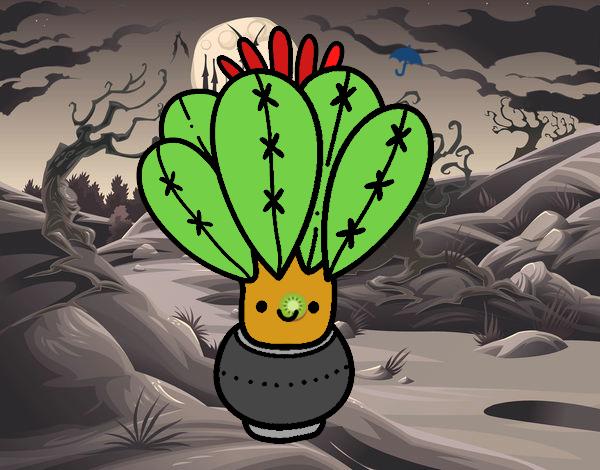 Un cactus con flor