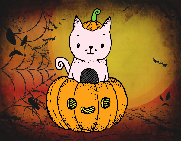 Dibujo Un gatito de Halloween pintado por Xxkenny3xx