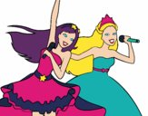 Dibujo Barbie y la princesa cantando pintado por DebaKassy