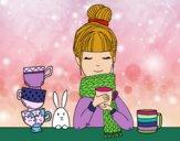 Dibujo Chica con bufanda y taza de té pintado por soreliz