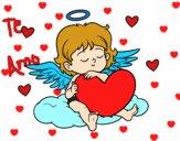 Dibujo Cupido con corazón pintado por mendz