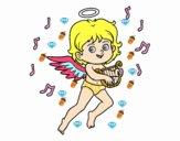 Cupido tocando el arpa