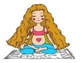 Dibujo Embarazada practicando yoga pintado por soreliz