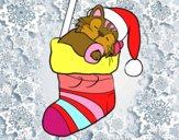 Dibujo Gatito durmiendo en un calcetín de Navidad pintado por sheyla13