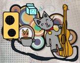 Dibujo Gato rockero pintado por xXPucchiXx