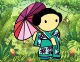 Geisha con sombrilla