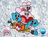 Dibujo Gumball y amigos contentos pintado por xXPucchiXx