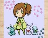 Dibujo Niña con conejitos pintado por Sakura111