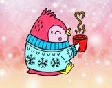 Pajarito tomando un té