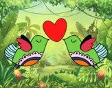 Dibujo Pájaros con corazón pintado por soreliz