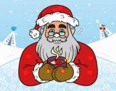 Papá Noel con taza de café