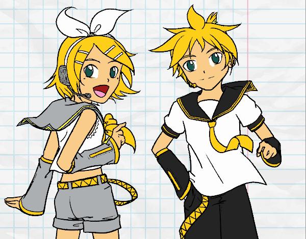 Dibujo Rin y Len Kagamine Vocaloid pintado por xXPucchiXx