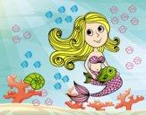 Dibujo Sirena y su pez pintado por soreliz