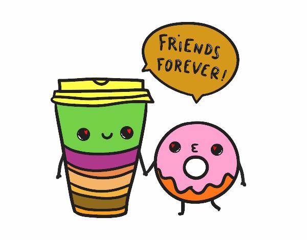 Dibujo Café y donut pintado por mendz